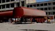 Tanker trucks recycling at junkyard video