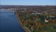 Tappan zee bridge and Lyndhurst mansion and estate - Aerial View - New York,  Orange County,  United States video