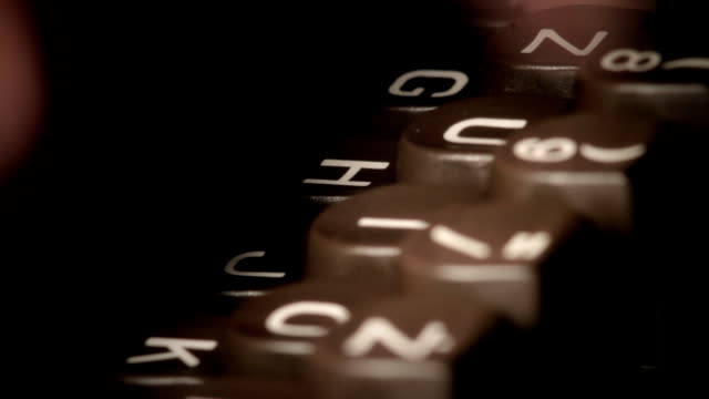 Tapping on the typewriter key. Fingers of secretary. video