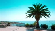 Tarragona balcony, beautiful sea view and palm tree, Spain video
