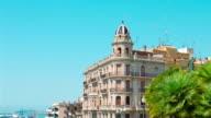 Tarragona in Spain, soap bubbles, establishing shot apartment house and port video