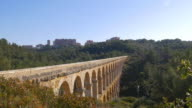 tarragona puente del diablo bridge panoramic view 4k video