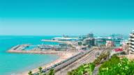 Tarragona sea port and beach, Costa Dorada, Spain video