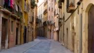 Tarragona street, establishing shot old town buildings video