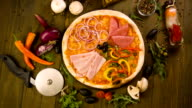 Tasty Italian Pizza, and ingredients on background video