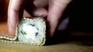 Tasty sushi set prepared with by sushi master in studio video
