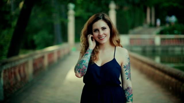 Tattoed rebel woman video portrait video