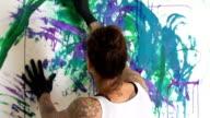 Tattooed Female Artist Painting MS video