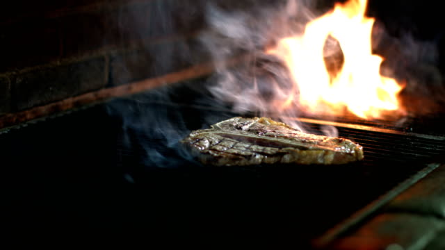 T-Bone Steak Meat Cooking on Barbecue Grill video