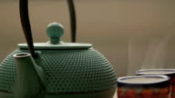 tea chest with two traditional tea cups video