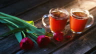 tea milk wood background video