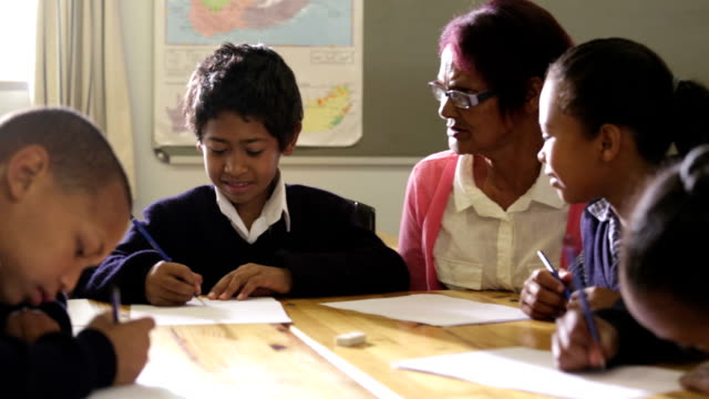 Teacher and School children drawing video