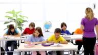 Teacher and schoolchildren on a lesson. video