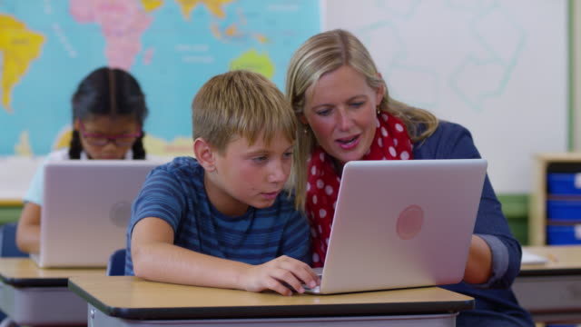 Teacher and student using in classroom video