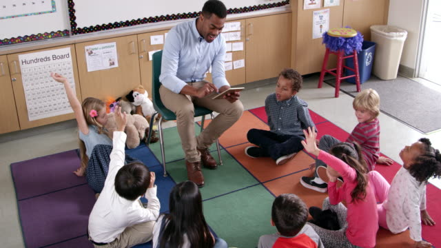 Teacher introduces story book to young pupils, elevated view video