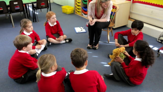 Teacher With Elementary School Pupils In Lesson video