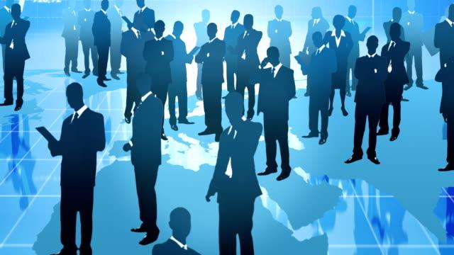 Team of  businessman. Global communication. video