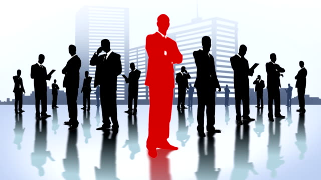 Team of businessmen in the city. video