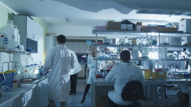 Team of caucasian scientists in white coats are working in a modern laboratory. video