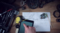 4K Technical Shot from Above of Idea on Tablet video