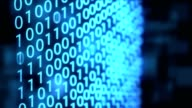 Technological Digital binary data background with binary code. Binary digits on blue background. video