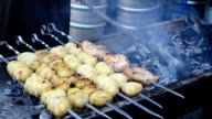 Technology of preparation of meat on fire. Shish kebab. video