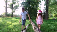 Teen boy and girl child walking on a log. Brother and sister helping each other to walk on the balance beam. video