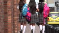 Teen Female Students Walking On Sidewalk video