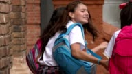 Teen Girl Students With Backpacks video