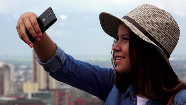 Teen Girl Taking Selfies video