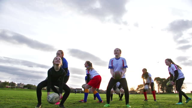 Teen Girls doing a Rugby Training Drill video