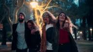Teen hipster friends enjoying a night walk in the city video