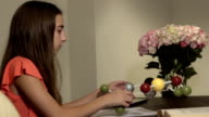 Teen Learns Science by Studying Model of a Molecule MS video