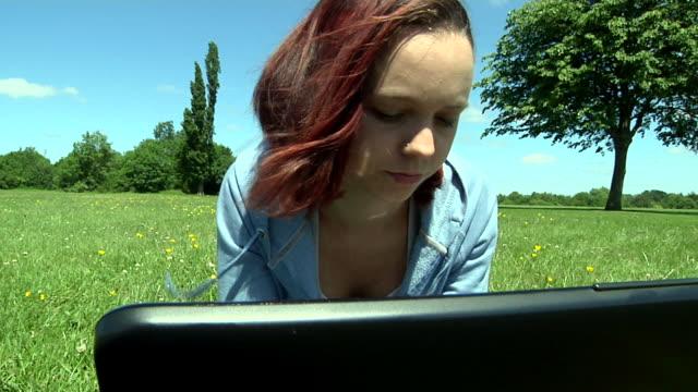 Teen on laptop video