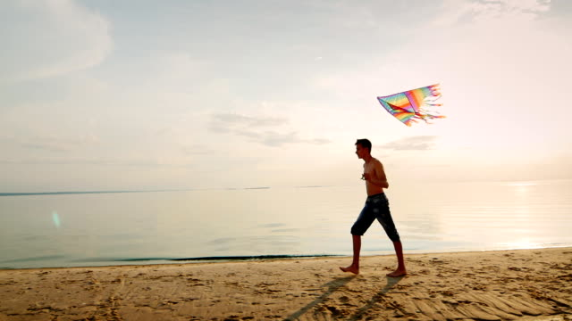 Teen playing with a kite near the sea in the beautiful sky video