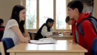 Teenage boy & girl flirting video