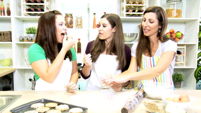 Teenage Caucasian Girls Mom Baking Cookies video