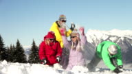 Teenage Family Having Snow Fight In Mountains video