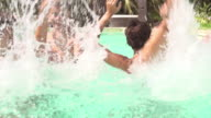 Teenage Friends Having Fun And Splashing In Swimming Pool video
