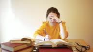 Teenage girl, 15 years old, doing homework video
