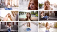 HD MONTAGE: Teenage girl and mobile phone video