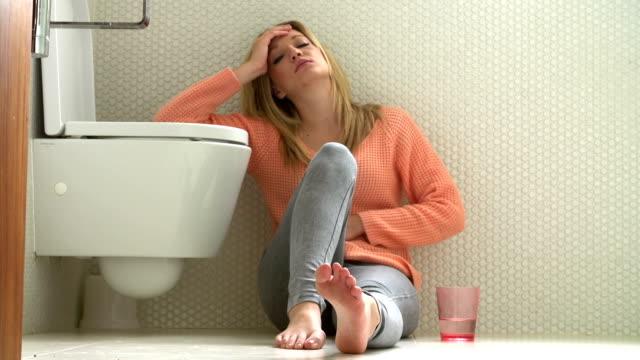 Teenage Girl Feeling Unwell In Bathroom video