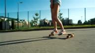 Teenage Girl In Sunglasses Riding Skate video