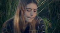 teenage girl looking sad depressed with troubled mental illness thoughts video