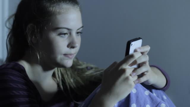 Teenage Girl on Phone Text Messaging Social Media video