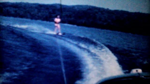 Teenage Girl Water Skiing On The Lake-1962 Vintage 8mm film video