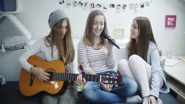4K: Teenage Girls Has Karaoke Party. video