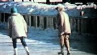 Teenage Girls Ice Skating In Winter-1958 Vintage 8mm film video