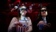 Teenage girls watching movie in cinema video