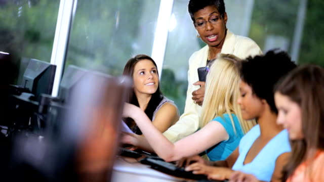 Teenage Multi Ethnic College Students Working Computers video